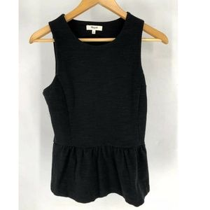 Madewell Womens Peplum Top Black Small Cotton Side